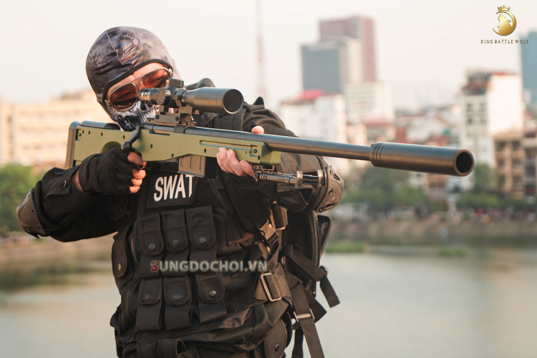 Súng đồ chơi AWM đạn thạch 140cm siêu to khổng lồ số 4